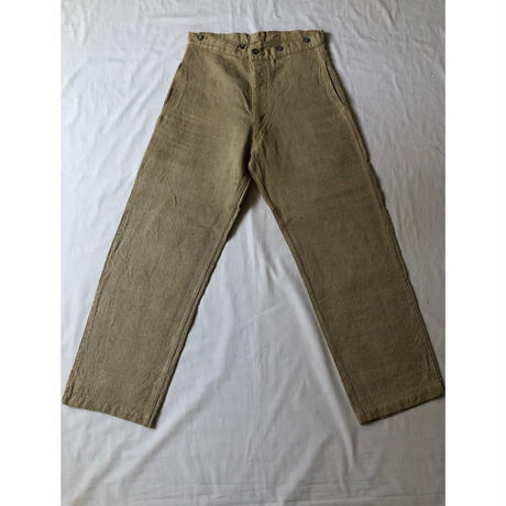 30's French Military HBT Linen Bourgeon Trousers.