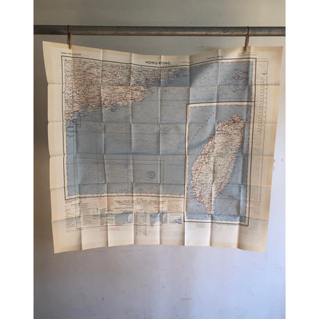 "50's Royal Air Force Escape Scarf Dead Stock ""HONG-KONG/CANTON"""