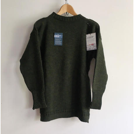 CHANNEL JUMPER  Traditional Guernsey Sweater Olive Green