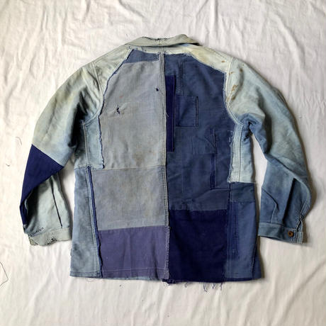 40's Ink Blue Moleskin Coverall Hard Repaired and Remade Made by A St Michel