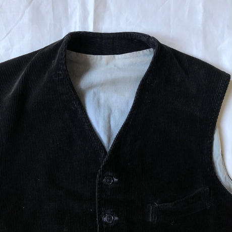 1940's Black Corduroy Work Gilet Made by Au Fusil