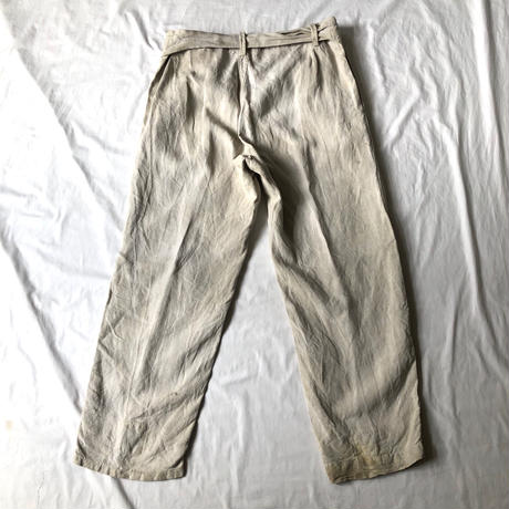 1930's French Military Natural Linen Motorcycle Pants