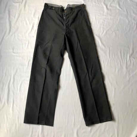 40's Black Cotton Twill Work Trouser