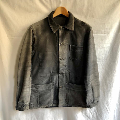 50's Boro Black Moleskin Coverall Made by Le Mont St Michel