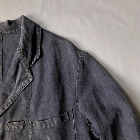 "1940's Sun Faded Black Linen Work Coat ""Maquignon"" Made by Au Molinel"