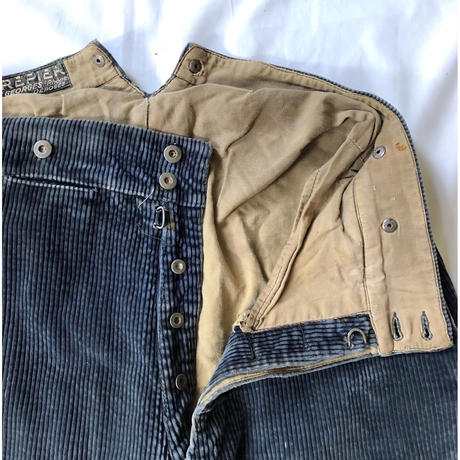 30's Crepier Blue Heavy Corduroy Farmers Work Trousers With Back Cinch