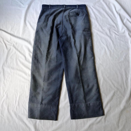"40's Ink Blue Moleskin Trousers Made by Old ""Adolphe Lafont"""