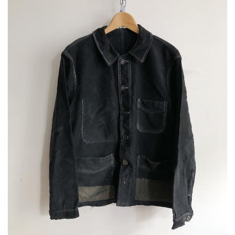 "40's Patched Repaired Moleskin  Hobo Jacket. Made from ""Adolphe Lafont"""