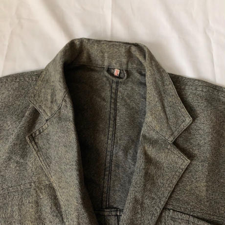 "Early 40's Black Chambray Painter Robe Coat Made From ""Adolphe Lafont""/2"