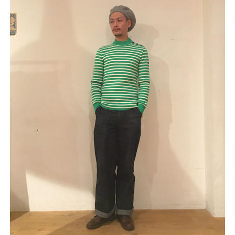 ROYAL MER Breton Jumper GREEN ×ECRU