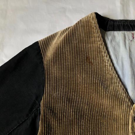 1930's French Corduroy/Black Moleskin Gilet Jacket