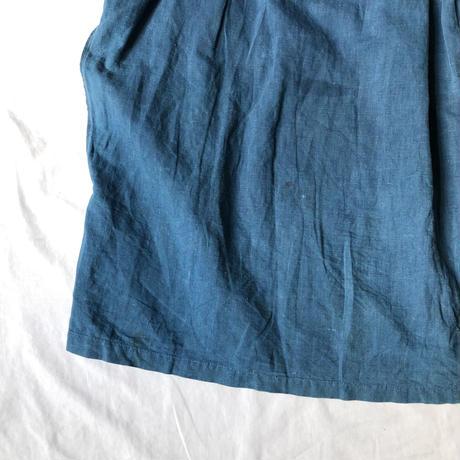〜1920's Sun Faded Indigo Linen Open Biaude