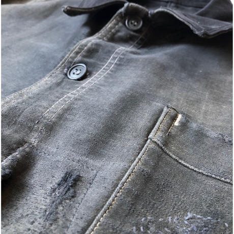 "40's Repaired Black Moleskin Coverall Made from ""Populier"""