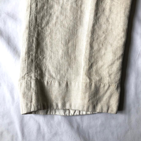 〜1920's French Military White HBT Light Line  Bourgeron Pants