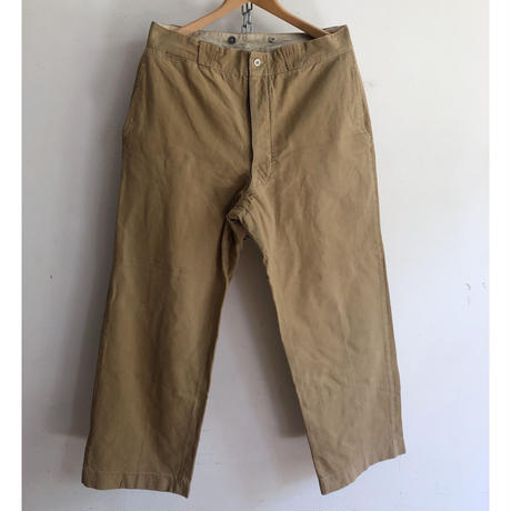 40's French Army Chino Trousers With Metal Buttons Exellent Condition/2