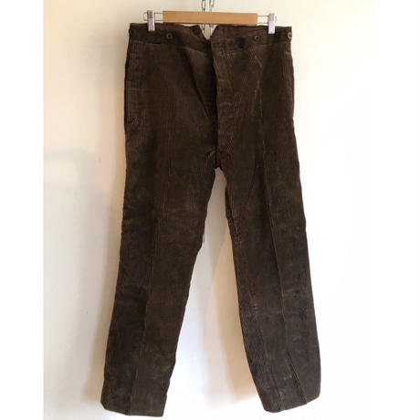 30's Heavy Corduroy With Back Cinch Farmers Work Trousers Dead Stock