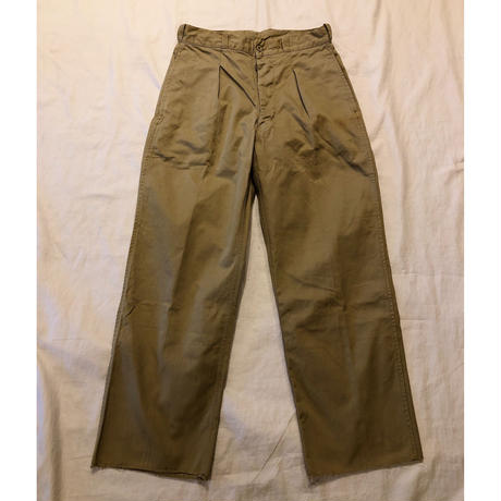 "50's French Army Chino Trousers ""12"" With Contracter Label"