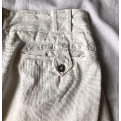 Early 40's French Army White Chino Trousers With Metal Buttons Exellent Condition/2