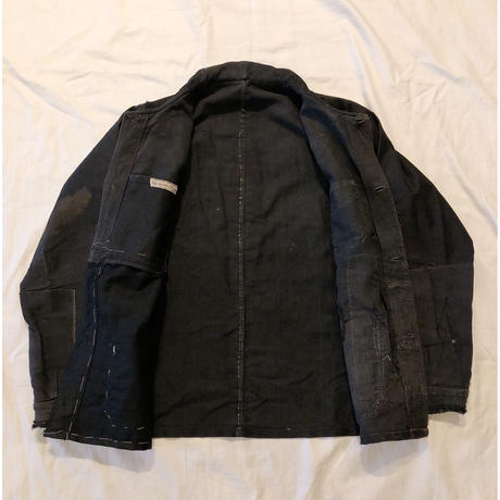 30's〜40's Big Patched Black Moleskin Hobo Coverall