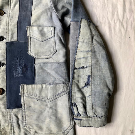 40's Ink Blue Moleskin Coverall Hard Repaired and Remade Made by Le Favori