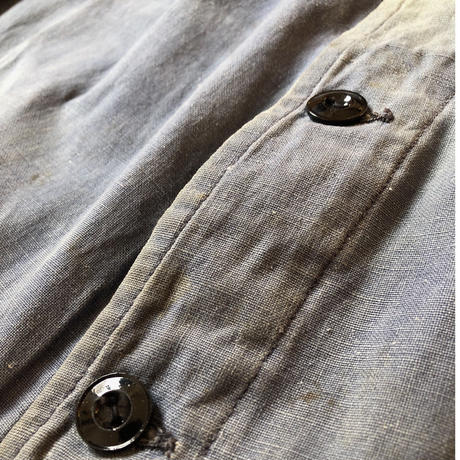 "30's French ""Cotton/Linen""  Metal Buttons Workwear"