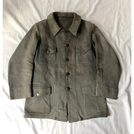 Later30's〜Early40's Animal Buttons Hunting Jacket With Chin Strap