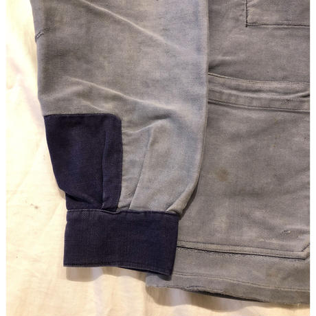 30's〜40's Special Faded Ink Bleu Moleskin Coverall With Metal Buttons