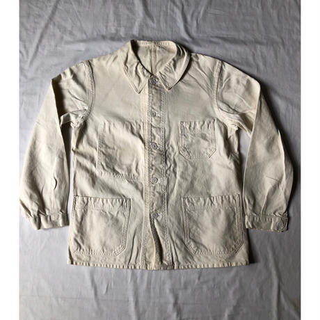 "40's  Light Natural Cotton Twill French Painter Jacket Dead Stock Made by ""Le Cres Sounle"""
