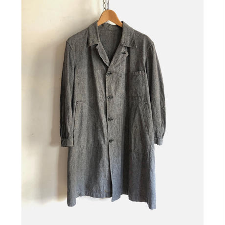 40's Black Chambray Atelier Coat Shell Buttons