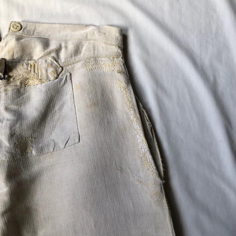 〜30's French Military Boro Bourgeron Trousers HBT Linen