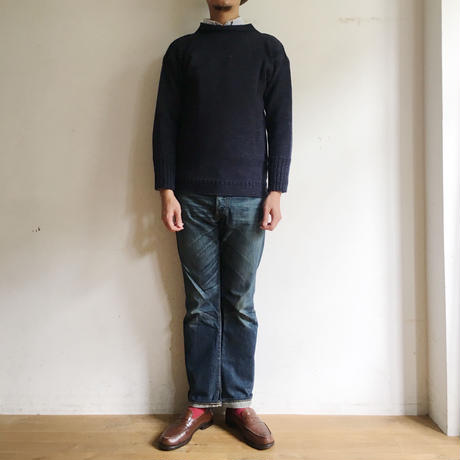 CHANNEL JUMPER Traditional Guernsey Sweater  Denim Blue