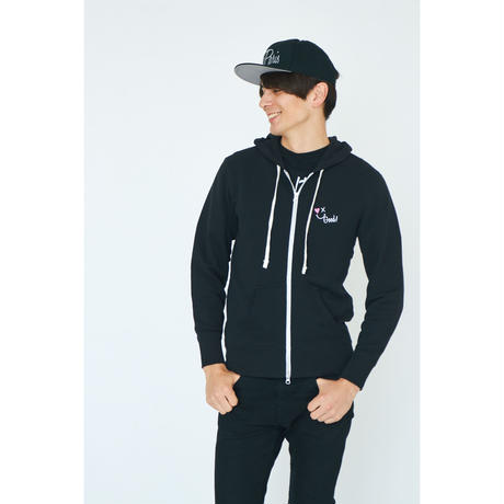 SMILE GOOD ZIP UP PARKA / BLACK GDP-003