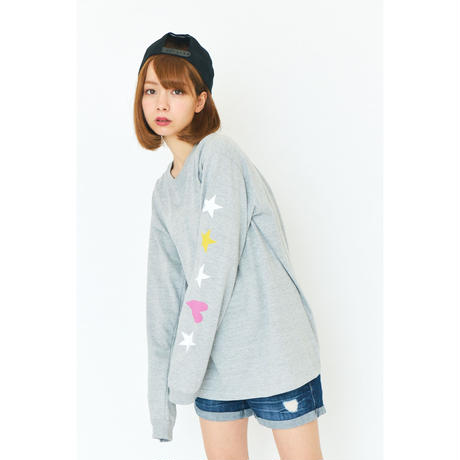 STAR&HEART LONG SLEEVE T-SHIRT / GREY GDL-002