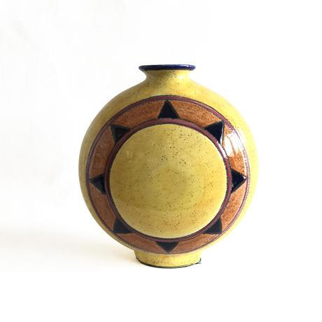 Sun Circle Mustard Vase