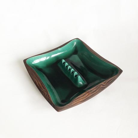 Green Glaze & Woody Taste Ashtray
