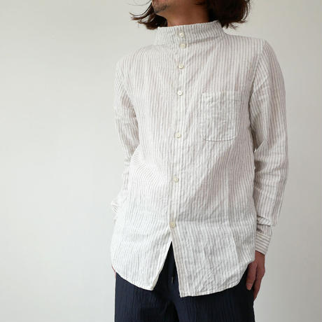 nisica|ニシカ |ガンジーネックシャツ |NIS-863|GREYストライプ