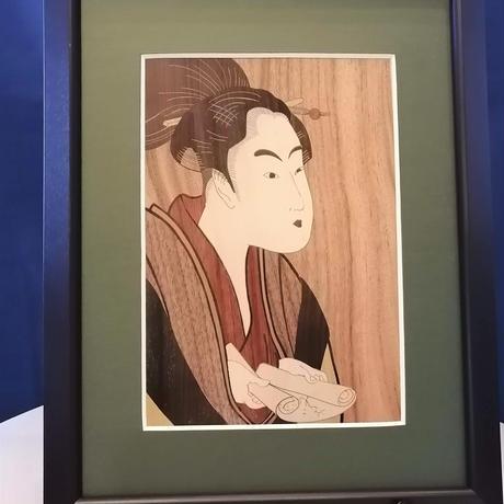 寄木細工 木象嵌 木の絵画 「浮世絵」