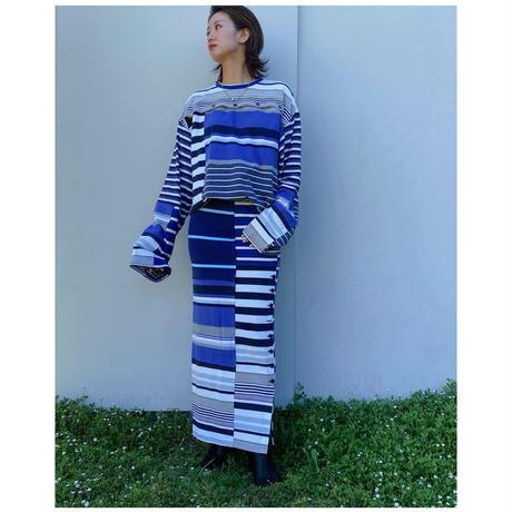 MALION vintage「border slit long skirt」(C)
