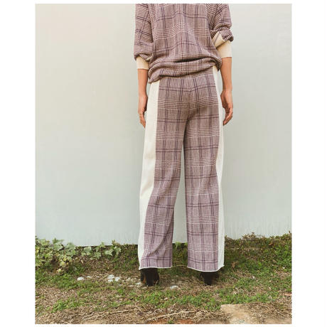 TAN.「CHECKED & LINE PANTS」red.