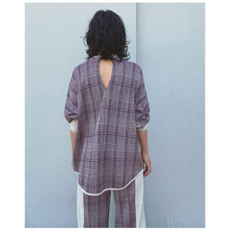 TAN.「CHECKED & LINE BLOUSE」red.