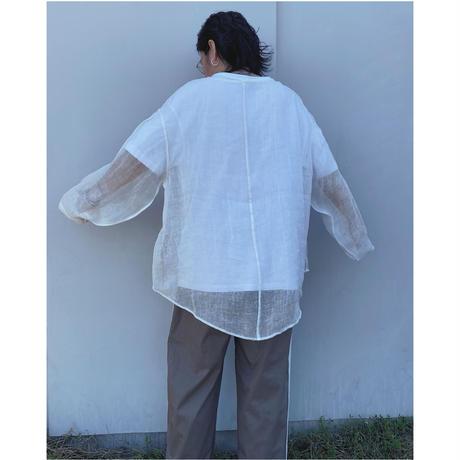 ERiKOKATORi「Linen Gauze See-Thrugh L/S-T」white.