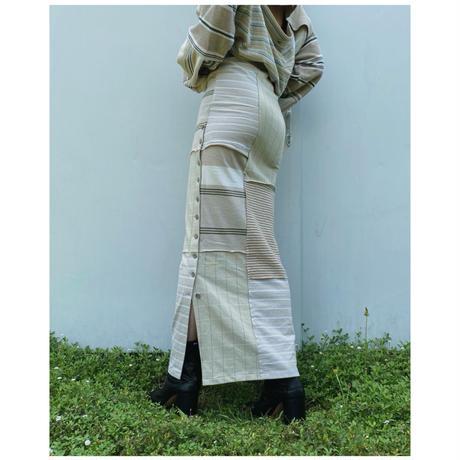 MALION vintage「border slit long skirt」A.