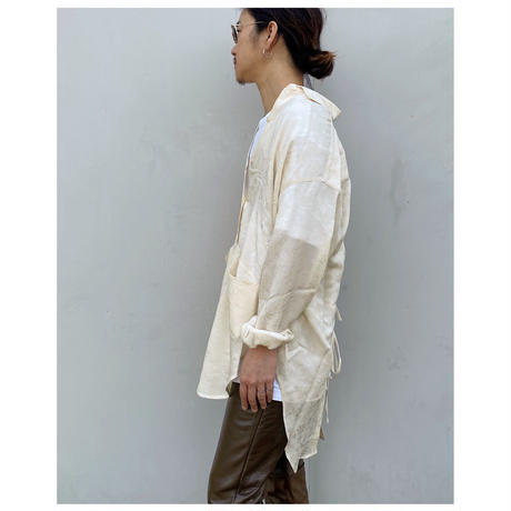 ERIKOKATORI「Big Pocket Back Open shirts」ivory.