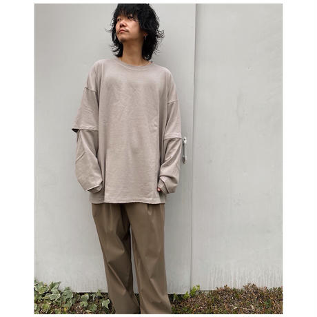 FACCIES「SLEEVE MESH LAYED L/S」charcoal.