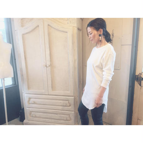 THEE 「long rib stitch long tee」 white