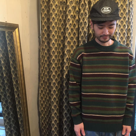 GOOFY CREATION  「Lambs wool border knit」 green