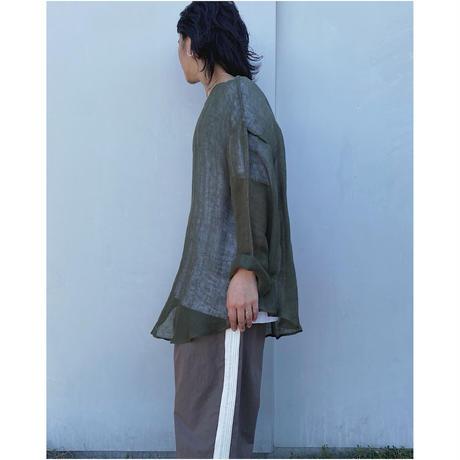 ERiKOKATORi「Linen Gauze See-Thrugh L/S-T」khaki.