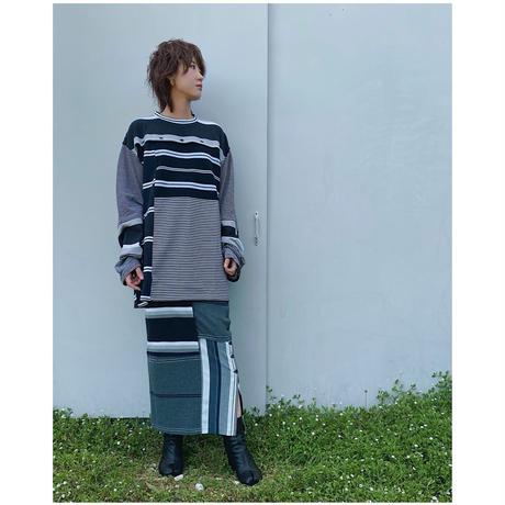 MALION vintage「border slit long skirt」B.