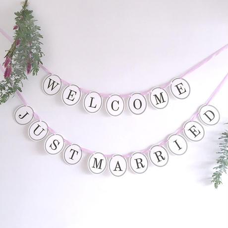 【2点セット】 WELCOME・JUST MARRIED  * Garland