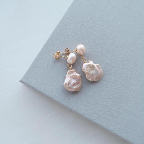 Baroque Pearl ピアス/ Pale pink【数量限定】